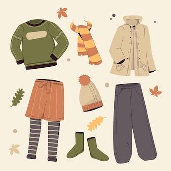 フラットデザインの秋の服コレクション