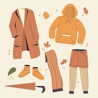 Set di vestiti autunnali dal design piatto