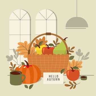 Flat design autumn decoration with basket