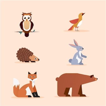 フラットなデザインの秋の森の動物コレクション