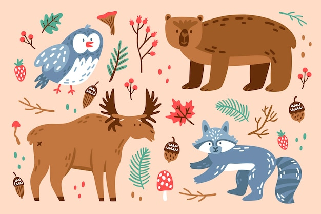 Flat design autumn forest animals collection