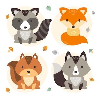 평면 디자인 가을 숲 동물 모음