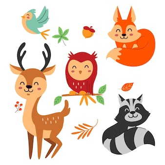フラットなデザインの秋の森の動物セット