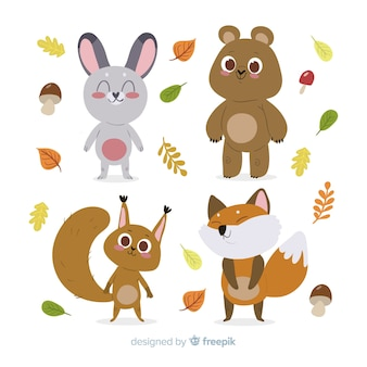 Flat design autumn forest animals