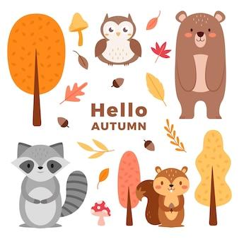 평면 디자인 가을 숲 동물