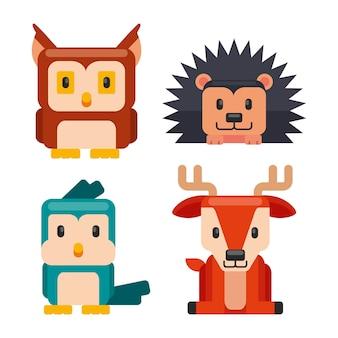 Плоский дизайн коллекции животных