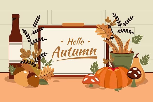 Flat design autumn home decorated