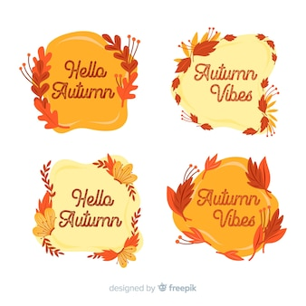 Flat design of autumn label collection