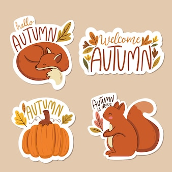 Flat design autumn labels
