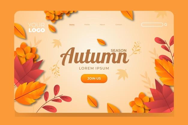 Flat design of autumn landing page