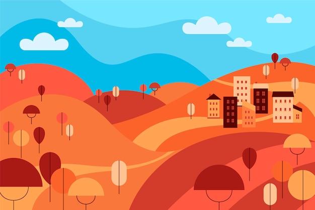 Flat design autumn landscape