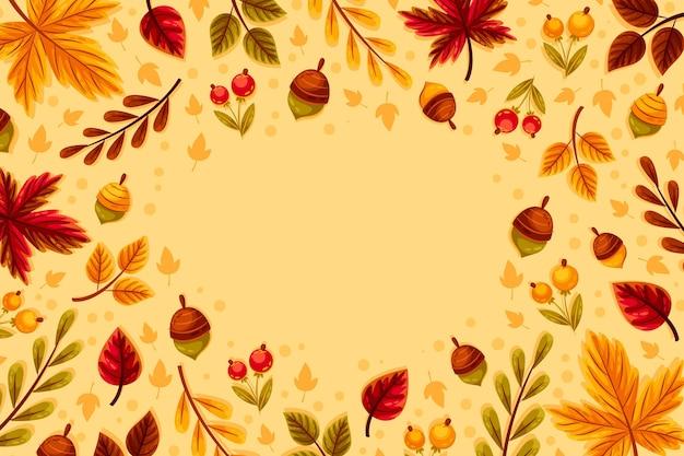 Плоский дизайн осенних листьев фон с желудями