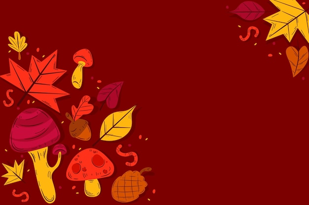 Flat design autumn leaves background with copy space