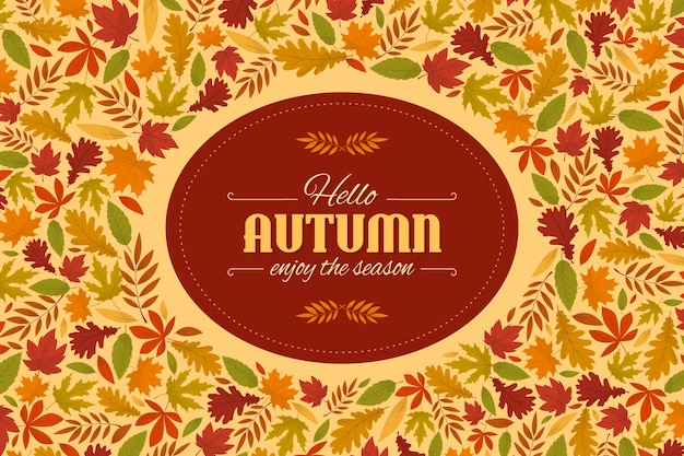 Flat design autumn leaves background