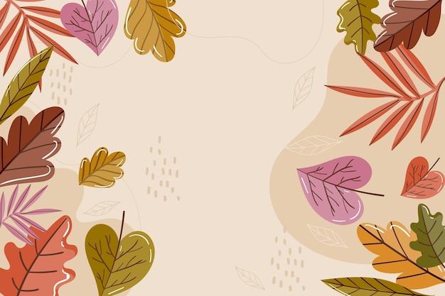 Flat design autumn leaves background