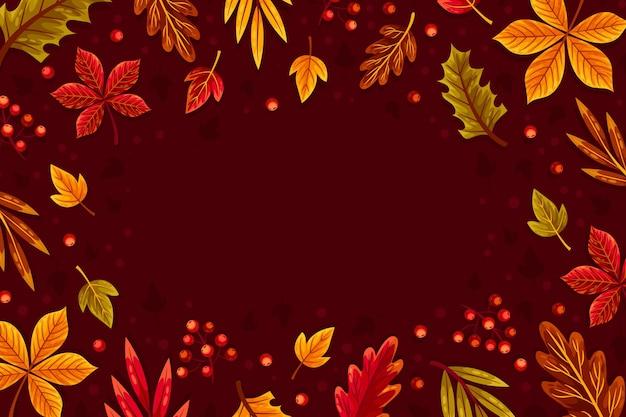 フラットなデザインの紅葉背景