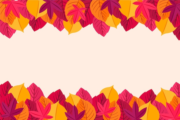 Flat design autumn leaves frame background
