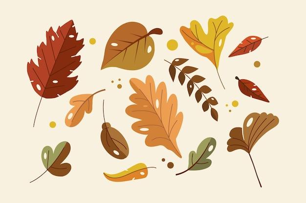 Flat design autumn leaves set
