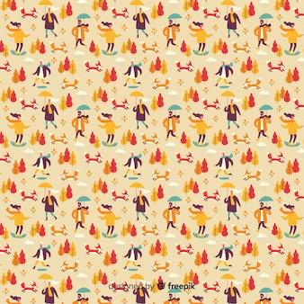 Flat design autumn pattern collection
