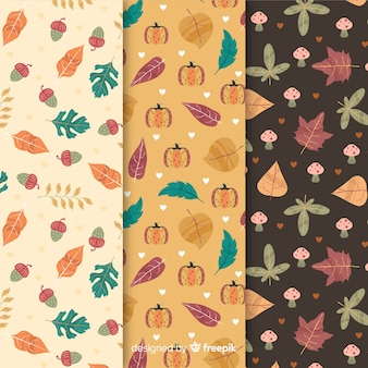 Flat design autumn pattern collection