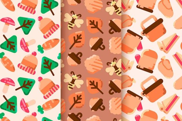 Set di pattern autunnali design piatto Vettore gratuito