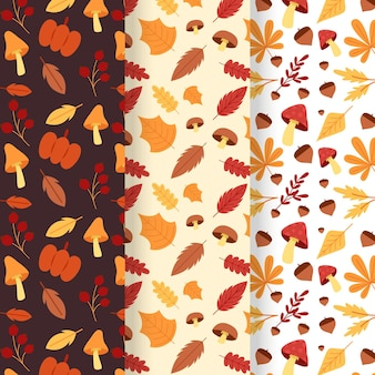 Flat design autumn pattern set