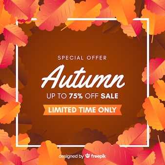Flat design autumn sale background