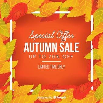 Flat design autumn sale background