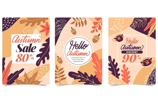 Flat design autumn sale banner collection
