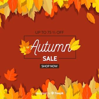 Flat design autumn sale banner