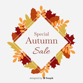 Flat design autumn sale banner