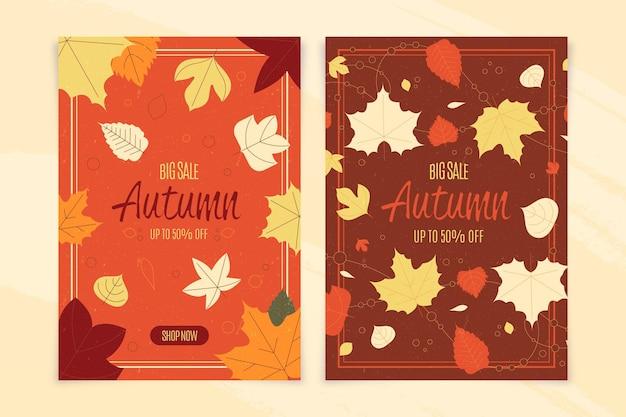 フラットなデザインの秋販売バナーコレクション