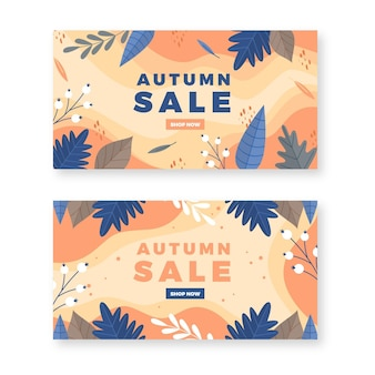 Flat design autumn sale banners pack