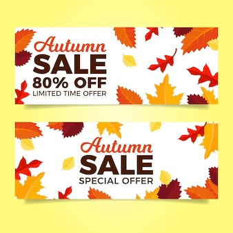 Flat design autumn sale banners template