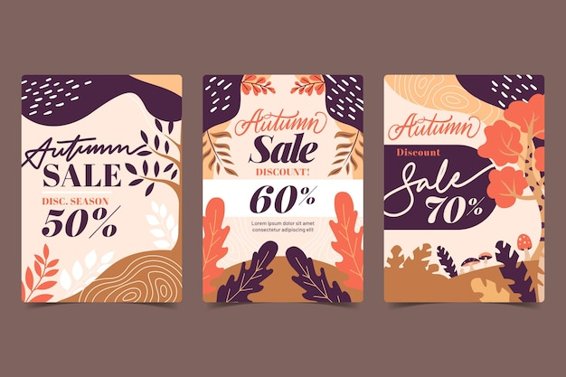 Flat design autumn sale banners
