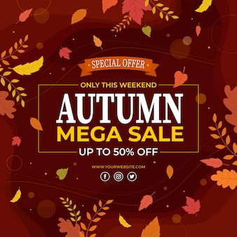 Flat design autumn sale concept