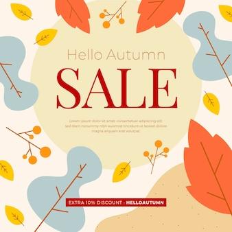 Flat design autumn sale concept