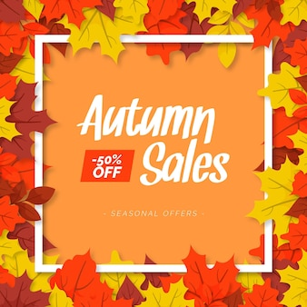Flat design autumn sale design