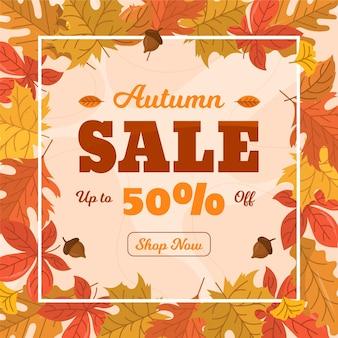 Flat design autumn sale illustration