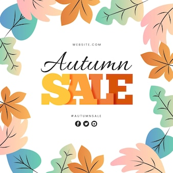 Flat design autumn sale promotion