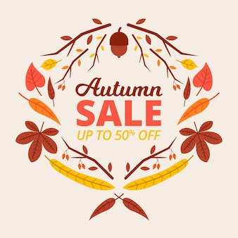 Flat design autumn sale with offer
