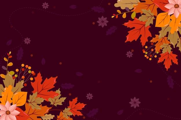 空のスペースでフラットなデザインの秋の壁紙