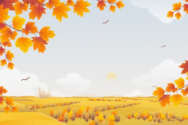 Flat design autumnal background
