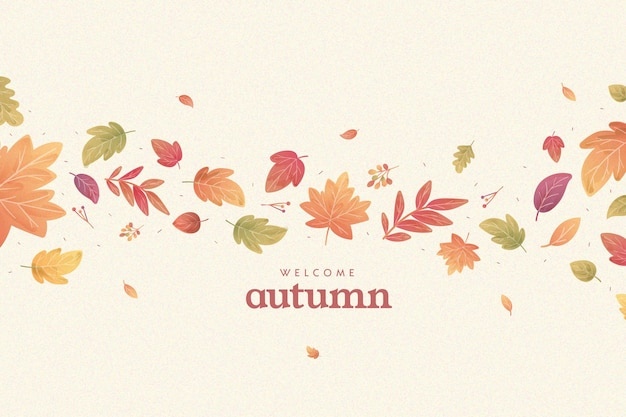 Flat design autumnal leaves background