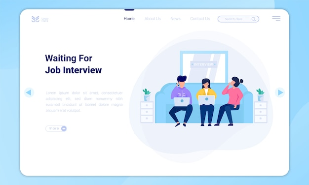 Flat design awaiting job interview with landing page template