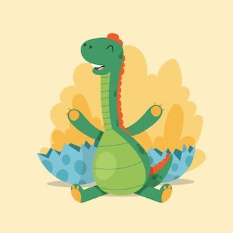 フラットデザインの赤ちゃん恐竜