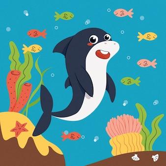 フラットなデザインの赤ちゃんサメとカラフルな魚