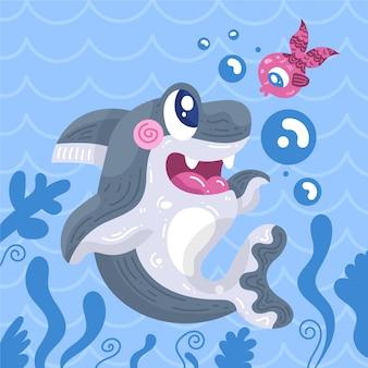 フラットなデザインの赤ちゃんサメと魚
