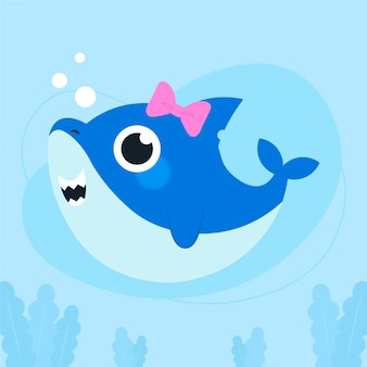 Flat design baby shark in cartoon style concept