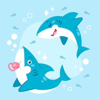 Flat design baby shark in cartoon style